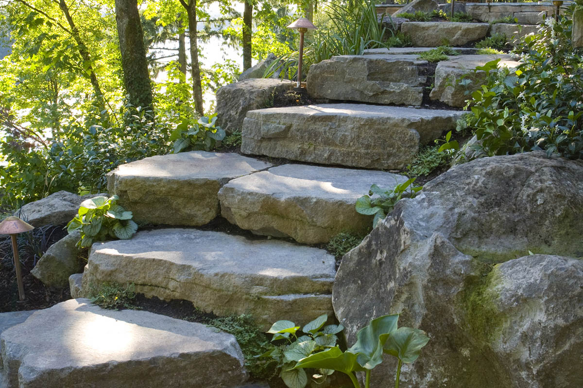big sky landscaping backyard steps pavers and stones